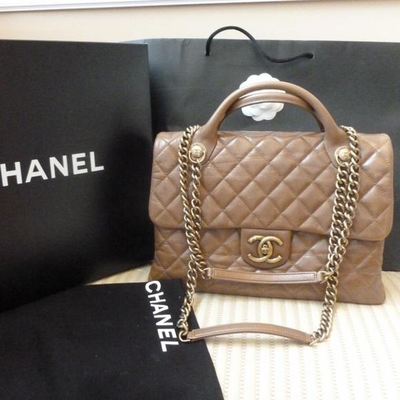 428ee68fe8a2 CHANEL Bags | Large Taupe Top Handles Flap Shoulder Bag | Poshmark